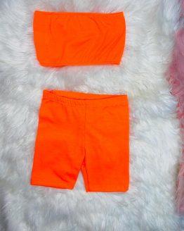 conjunto sara naranja con una tela muy fresquera para este verano lo puedes adquirir en la tienda baby Daia shop