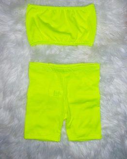 CONJUNTO SARA de color amarillo flúor perfecto para este verano, precioso. puedes adquirirlo en babydaiashop