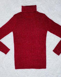 Jersey de cuello alto rojo con purpurina plateada, se queda ajustado al cuerpo. Tallas pares. Disponible también en color rosa palo o negro. Puedes combinarlo con la malla de cuero y el chaleco de pelo disponible en la sección de niña. babydaiashop, ropa de niña, ropa bonita, ropa exclusiva