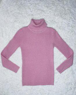 Jersey de cuello alto rosa palo con purpurina plateada, se queda ajustado al cuerpo. Tallas pares. Disponible también en color rojo o negro. Puedes combinarlo con la malla de cuero y el chaleco de pelo disponible en la sección de niña. online , babydaiashop , ropa de niña , ropa bonita , ropa exclusiva