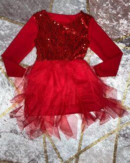 Vestido rojo de lentejuelas , con lentejuelas en el pecho , la falda es de doble forro , no se transparenta nada. Tallas 4 a 14 años , (Tallas pares). babydaiashop . compra online . artículos para bebes y niños.