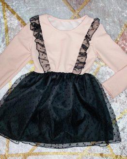 Vestidos puntos rosa pastel , con falda pomposa de tull con doble forro , no se transparenta nada. Tallas 4 a 14 años , (Tallas pares).