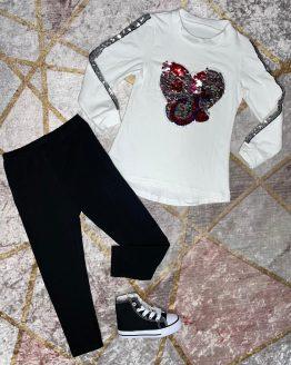 Conjunto de Tik Tok , compuesto por jersey largo con estampado de Tik Tok en el pecho de lentejuelas reversibles , con linea en los dos brazos de lentejuelas plateadas y malla negra con cintura engomada , los dos vienen con el interior afelpado. Tallas 4 a 14 años , (Tallas pares). Puedes combinarlo con nuestro botin convers negras disponibles en la sección de calzado. babydaiashop . compra online . artículos para mujer y niños.