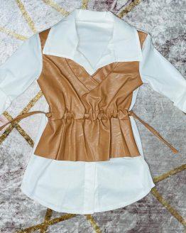 Camisa marrón y blanca , con cierre de botones y cintura ajustable. Tallas 4 a 14 años (Tallas pares). compra online . artículos para mujer y niños.