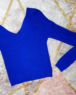 Jersey de punto color azul eléctrico , con una manga larga y otra manga de tirantes , queda ceñido al cuerpo. Talla Unica , (hasta 40). babydaiashop . compra online . artículos para mujer y niños.